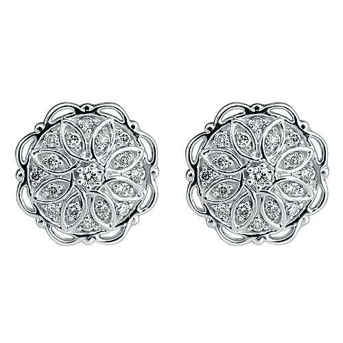 Gabriel - 14k White Gold Flirtation Stud Earrings