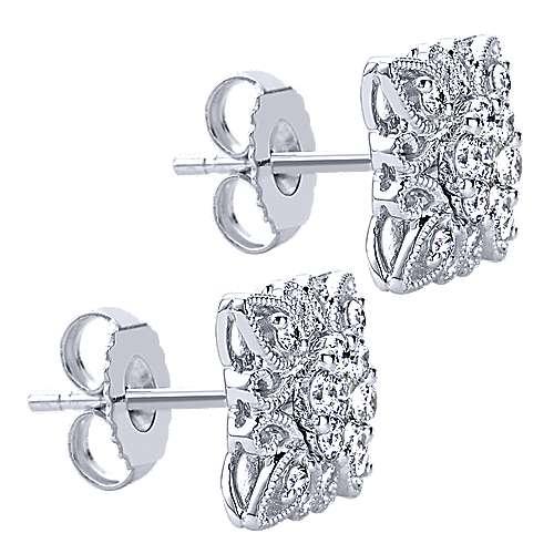 14k White Gold Flirtation Stud Earrings angle 2