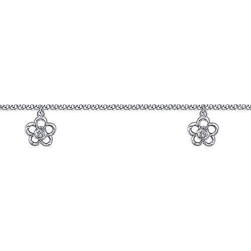 14k White Gold Floral Chain Ankle Bracelet