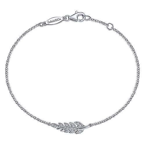14k White Gold Floral Chain Bracelet