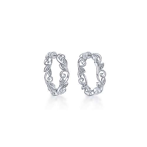 14k White Gold Floral Classic Hoop Earrings angle 1