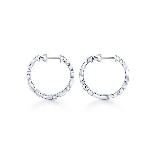 14k White Gold Floral Classic Hoop Earrings angle 2