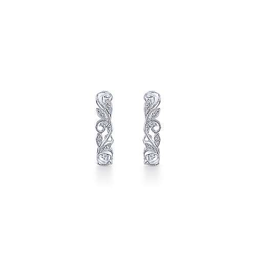 14k White Gold Floral Classic Hoop Earrings angle 3