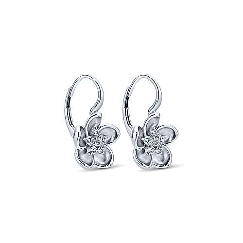 14k White Gold Floral Drop Earrings angle 2