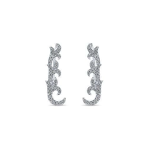 14k White Gold Floral Ear Climber Earrings