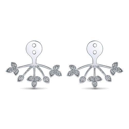 14k White Gold Floral Enhancer Earrings angle 1