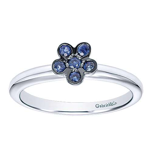 14k White Gold Floral Fashion Ladies' Ring angle 4