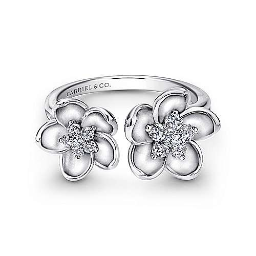Gabriel - 14k White Gold Floral Fashion Ladies' Ring
