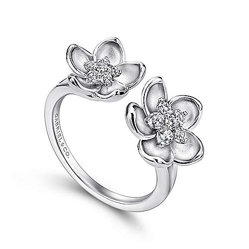 14k White Gold Floral Fashion Ladies' Ring angle 3