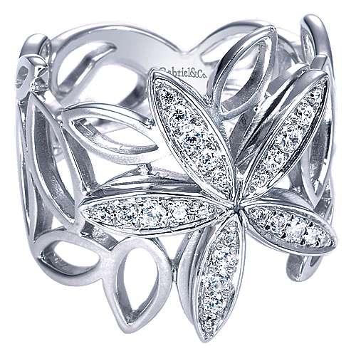 14k White Gold Floral Fashion Ladies' Ring