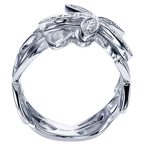 14k White Gold Floral Fashion Ladies' Ring angle 2