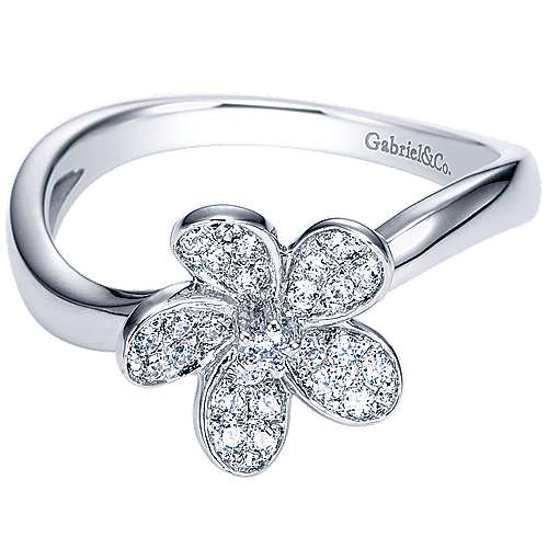 14k White Gold Floral Fashion Ladies' Ring angle 1