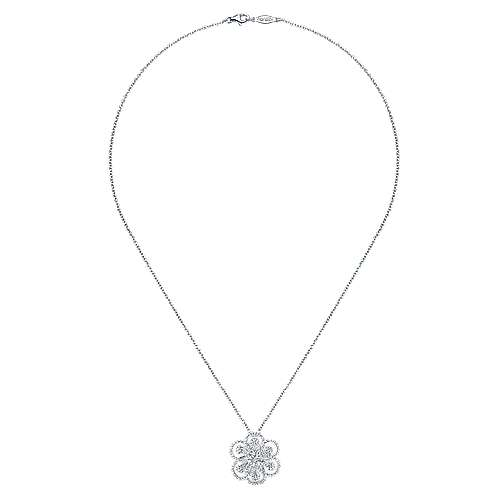 14k White Gold Floral Fashion Necklace angle 2