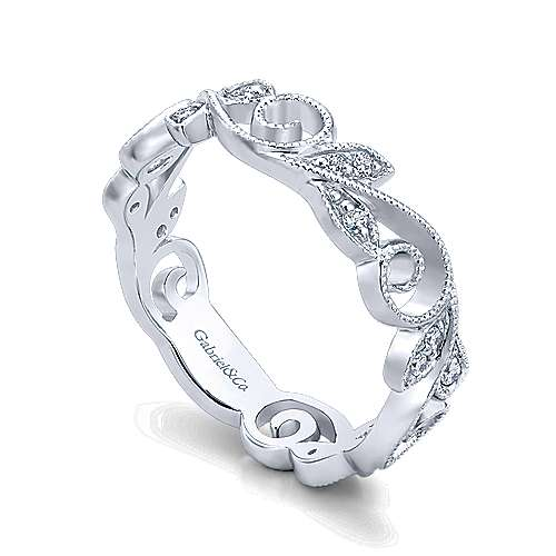 14k White Gold Floral Midi Ladies' Ring angle 3