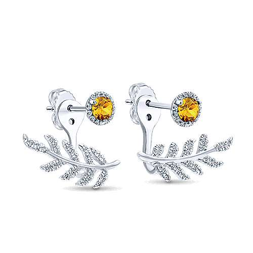 14k White Gold Floral Peek A Boo Earrings angle 2