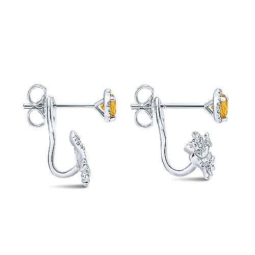 14k White Gold Floral Peek A Boo Earrings angle 3