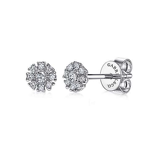 Gabriel - 14k White Gold Floral Round Diamond Stud Earrings