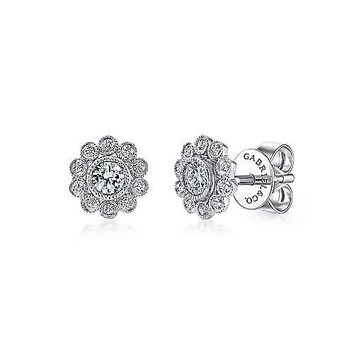 14k White Gold Floral Stud Earrings angle 1