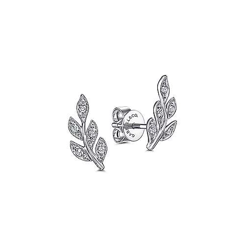 14k White Gold Floral Stud Earrings