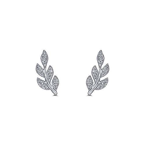 14k White Gold Floral Stud Earrings angle 3