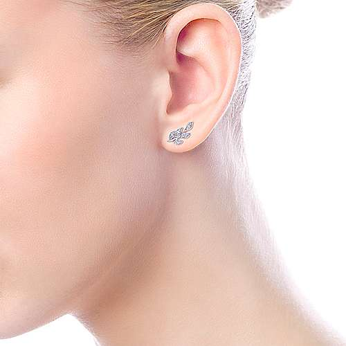 14k White Gold Floral Stud Earrings angle 4