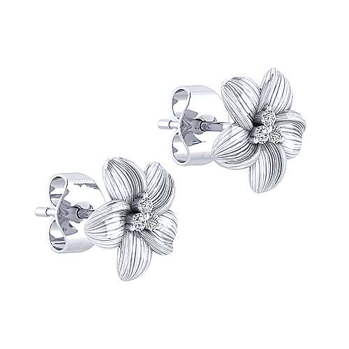 14k White Gold Floral Stud Earrings angle 2