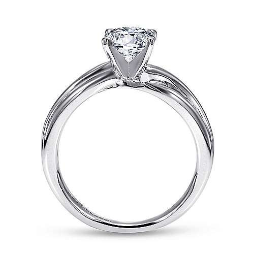 14k White Gold Free Form Engagement Ring angle 2