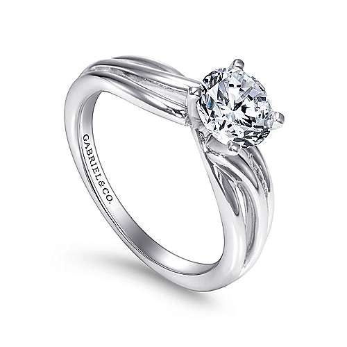 14k White Gold Free Form Engagement Ring angle 3