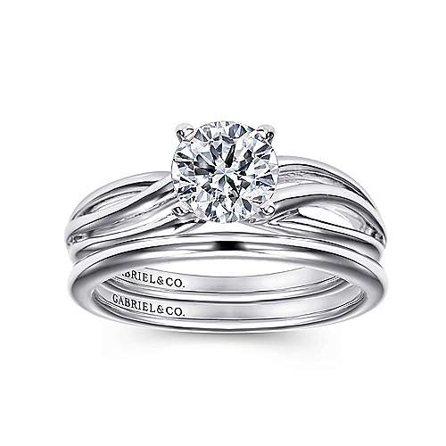 14k White Gold Free Form Engagement Ring angle 4