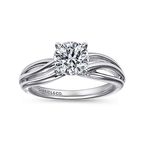 14k White Gold Free Form Engagement Ring angle 5
