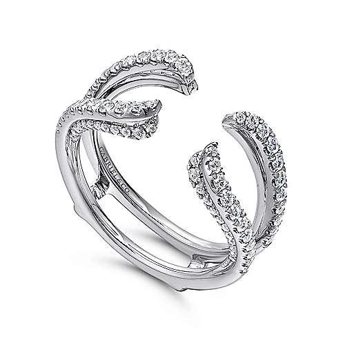 14k White Gold French Pavé Set Diamond Enhancer