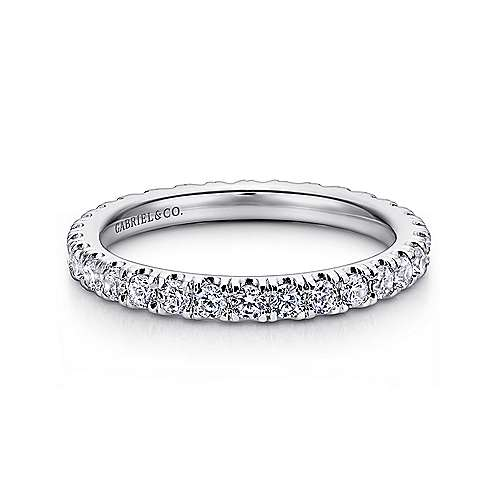 14k White Gold French Pavé Set Eternity Band