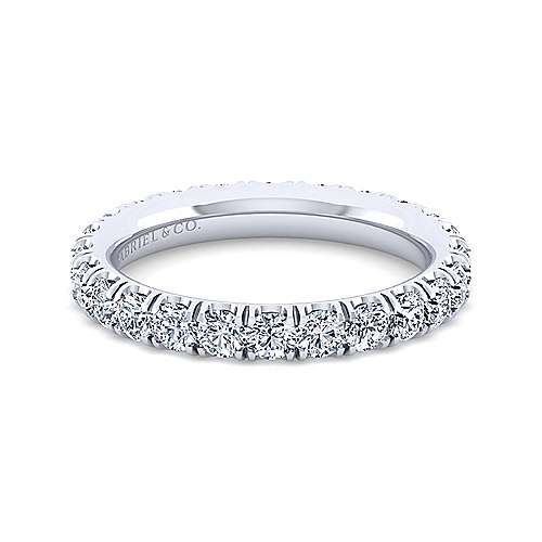 Gabriel - 14k White Gold French Pavé Set Eternity Band