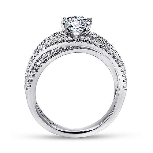 14k White Gold French Pave Free Form Basket Center Diamond Engagement Ring angle 2