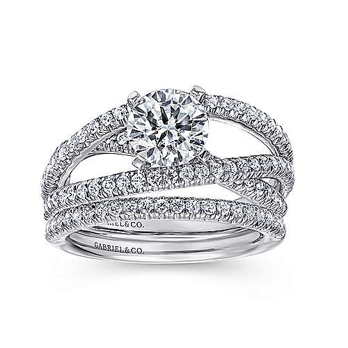 14k White Gold French Pave Free Form Basket Center Diamond Engagement Ring angle 4