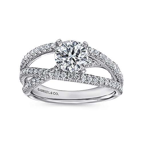 14k White Gold French Pave Free Form Basket Center Diamond Engagement Ring angle 5
