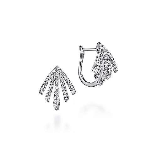 14k White Gold Fringe Fan Diamond Huggie Earrings