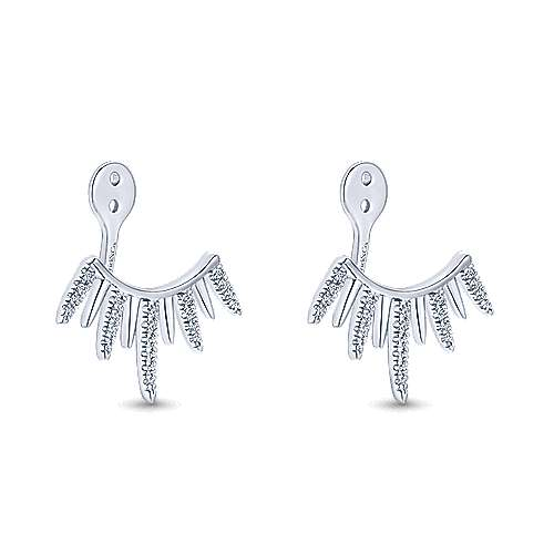 14k White Gold Gemini Earrings Enhancer Earrings angle 2