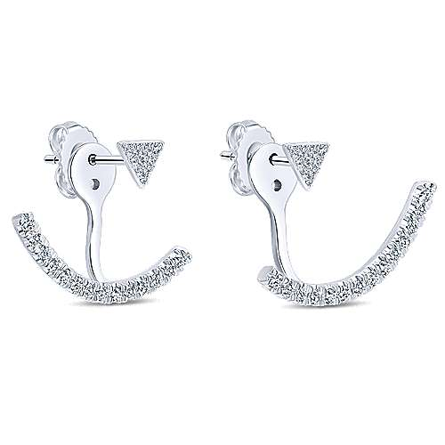 14k White Gold Gemini Earrings Peek A Boo Earrings angle 2