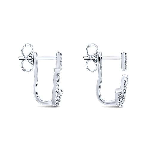 14k White Gold Gemini Earrings Peek A Boo Earrings angle 3