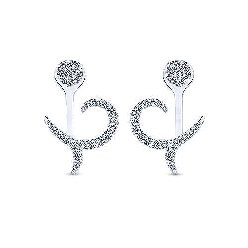 14k White Gold Gemini Earrings Peek A Boo Earrings angle 1