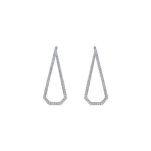 14k White Gold Geometric Intricate Diamond Hoop Earrings angle 3