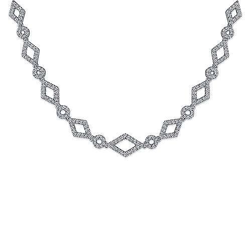 14k White Gold Geometric Pave Diamond Fashion Necklace