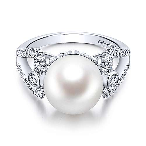 14k White Gold Grace Classic Ladies' Ring angle 1