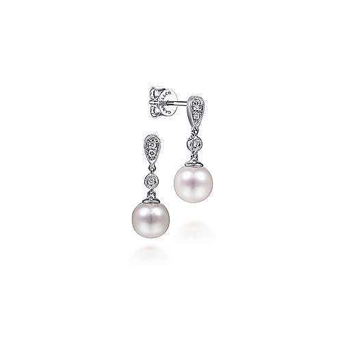 14k White Gold Grace Drop Earrings angle 1