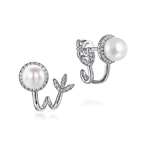 14k White Gold Grace Stud Earrings