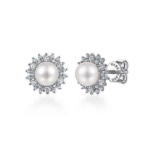 14k White Gold Grace Stud Earrings