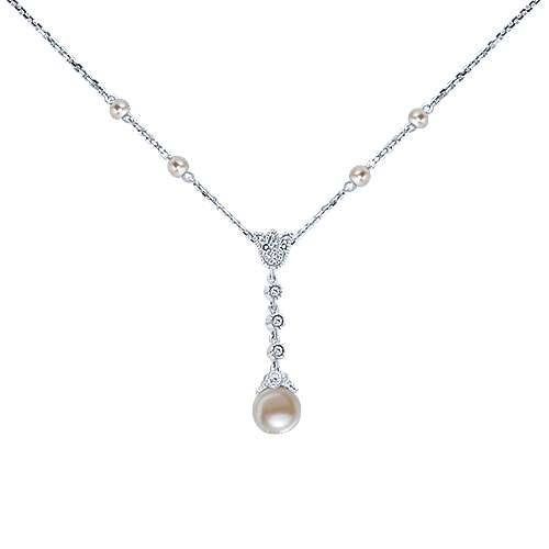 14k White Gold Grace Y Knots Necklace angle 1