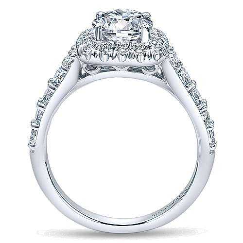 14k White Gold Graduating Pave Diamond Round Halo Engagement Ring angle 2