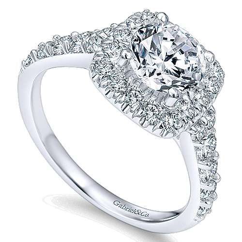 14k White Gold Graduating Pave Diamond Round Halo Engagement Ring angle 3